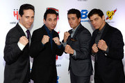 """(L-R) Singers Jeff Leibow, Travis Cloer, Graham Fenton and Deven May of """"The Jersey Boys"""" arrive at the sixth annual Fighters Only World Mixed Martial Arts Awards at The Palazzo Las Vegas on February 7, 2014 in Las Vegas, Nevada."""