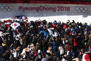 Jerry Rice of Great Britain slides during the Men's Skeleton heats on day six of the PyeongChang 2018 Winter Olympic Games at the Olympic Sliding Centre on February 15, 2018 in Pyeongchang-gun, South Korea.