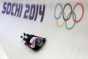 Shelley Rudman of Great Britain during the Women's Skeleton heats on Day 6 of the Sochi 2014 Winter Olympics at Sliding Center Sanki on February 13, 2014 in Sochi, Russia.