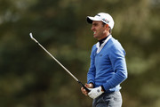 Edoardo Molinari of Italy reacts to his second shot on the 11th hole during Day Two of Sky Sports British Masters at Walton Heath Golf Club on October 12, 2018 in Tadworth, England.