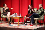 "Lena Dunham (L) appears on stage with Megan Mullally and Nick Offerman to discuss their book ""The Greatest Love Story Ever Told"" presented by Skylight Books at Aratani Theatre on October 3, 2018 in Los Angeles, California."