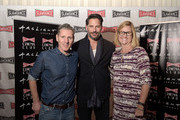 """President and co-founder of Slamdance Peter Baxter, actor Joe Manganiello and executive vice president of cinema programming for ArcLight Gretchen McCourt attend the Slamdance Cinema Club screening of """"Resurrection Of Jake The Snake"""" at ArcLight Cinemas on March 8, 2015 in Hollywood, California."""