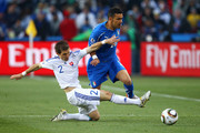 Peter Pekarik of Slovakia tackles Fabio Quagliarella of Italy during the 2010 FIFA World Cup South Africa Group F match between Slovakia and Italy at Ellis Park Stadium on June 24, 2010 in Johannesburg, South Africa.