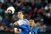 Peter Pekarik of Slovakia challenges Fabio Quagliarella of Italy during the 2010 FIFA World Cup South Africa Group F match between Slovakia and Italy at Ellis Park Stadium on June 24, 2010 in Johannesburg, South Africa.