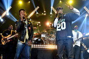 Producer/Recording artist Pharrell Williams (L) and rapper Snoop Dogg perform onstage during Snoop Dogg Live on the Honda Stage at iHeartRadio Theater on May 11, 2015 in Burbank, California.