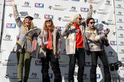 Ty Walker, Jamie Anderson, Sage Kotsenburg and Shaun White celebrate their spots on The United States Olympic team for Snowboarding Slopestyle for Sochi 2014 at the 2014 Sprint U.S. Snowboarding Grand Prix at Mammoth Mountain Resort on January 19, 2014 in Mammoth, California.