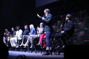 (L-R) Jennifer Connelly, Daveed Diggs, Alison Wright, Mickey Sumner, Lena Hall, Sheila Vand, Steven Ogg and Graeme Manson speak onstage at the Snowpiercer panel during New York Comic Con at Hammerstein Ballroom on October 05, 2019 in New York City.