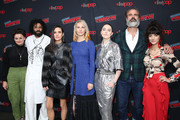 (L-R) Alison Wright, Daveed Diggs, Jennifer Connelly, Mickey Sumner, Lena Hall, Steven Ogg and Sheila Vand attend the Snowpiercer press line during New York Comic Con at Hammerstein Ballroom on October 05, 2019 in New York City.