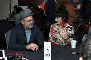 Graeme Manson and Sheila Vand attend the Snowpiercer press line during New York Comic Con at Hammerstein Ballroom on October 05, 2019 in New York City.