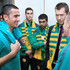 Brett Emerton Photos - Socceroos Tim Cahill and Matt McKay chat with former Socceroo Brett Emerton during an Australian Socceroos visit to Parliament House on November 9, 2015 in Canberra, Australia. - Socceroos Parliament Visit