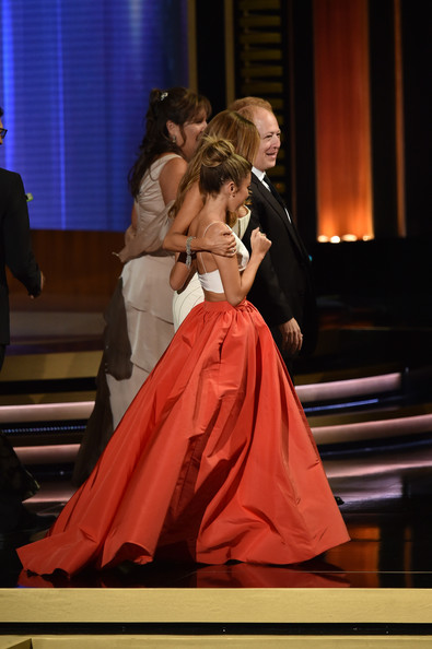 66th Annual Primetime Emmy Awards Show [modern family,performance,fashion,event,dress,performing arts,performance art,gown,human body,haute couture,stage,crew,cast,california,los angeles,nokia theatre l.a. live,show,primetime emmy awards,outstanding comedy series]