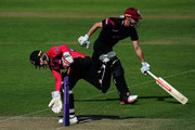 Ben Brown of Sussex(L) attempts to run out James Hidlreth of Somerset during the Royal London One-Day Cup match between Somerset and Sussex at The Cooper Associates County Ground on May 22, 2018 in Taunton, England.