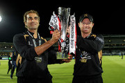 Imran Tahir and Ian Bell of Warwickshire pose with the trophy during the Clydesdale Bank 40 Final match between Somerset and Warwickshire at Lord's Cricket Ground on September 18, 2010 in London, England.