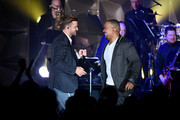 Justin Timberlake and Timbaland perform onstage during the Songwriters Hall Of Fame 50th Annual Induction And Awards Dinner  at The New York Marriott Marquis on June 13, 2019 in New York City.