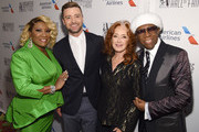 Patti LaBelle, Justin Timberlake, Bonnie Raitt and Nile Rodgers pose backstage during the Songwriters Hall Of Fame 50th Annual Induction And Awards Dinner at The New York Marriott Marquis on June 13, 2019 in New York City.