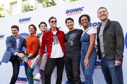 (L-R) Jim Carrey, James Marsden, Jeff Fowler, Ben Schwartz, Haruki Satomi, Tika Sumpter and Toby Ascher attend Sonic The Hedgehog Family Day Event on January 25, 2020 in Hollywood, California.