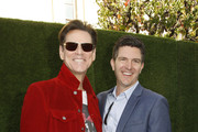 "(L-R) Jim Carrey and Jeff Fowler attend ""Sonic The Hedgehog"" Family Day Event at the Paramount Theatre on January 25, 2020 in Hollywood, California."