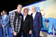 "(L-R) Jim Carrey, Paramount's Jim Gianopulos and Producer Neal Moritz attend a ""Sonic The Hedgehog"" Special Screening at the Regency Village Theatre on February 12, 2020 in Westwood, California."