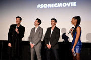 "(L-R) Jim Carrey, Ben Schwartz, director Jeff Fowler and Vick Hope attend the ""Sonic the Hedgehog"" London Fan Screening at Vue Westfield on January 30, 2020 in London, United Kingdom."