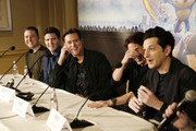 "Producer Toby Ascher, Director Jeff Fowler, Jim Carrey, James Marsden and Ben Schwartz  speak onstage during the ""Sonic The Hedgehog"" Parent Blogger / Influencer Conference featuring James Marsden, Ben Schwartz & Jim Carrey with host Heather Brooker at the Four Seasons Los Angeles at Beverly Hills on January 24, 2020 in Los Angeles, California."