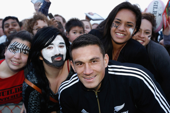 Sonny Bill Williams Sonny Bill Williams poses with fans during a New Zealand All Blacks IRB Rugby World Cup 2011 fan day at Pioneer Recreation & Sport Centre on September 18, 2011 in Christchurch, New Zealand.
