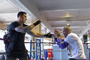 Sonny Bill Williams (L) trains with Anthony Mundine (R) ahead of his fight this Sunday at Boxing Alley during  on June 1, 2011 in Auckland, New Zealand.