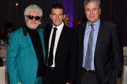 """(L-R) Pedro Almodovar, Antonio Banderas and Tom Bernard attend Sony Pictures Classics celebration for the cast of """"Pain & Glory"""" at The West Hollywood EDITION on February 08, 2020 in West Hollywood, California."""