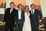 """Director Quentin Tarantino, Brad Pitt, Margot Robbie and Leonardo DiCaprio attend the Sony Pictures' """"Once Upon A Time...In Hollywood"""" Los Angeles Premiere on July 22, 2019 in Hollywood, California."""