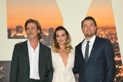 "Brad Pitt, Margot Robbie and Leonardo DiCaprio attend the Sony Pictures' ""Once Upon A Time...In Hollywood"" Los Angeles Premiere on July 22, 2019 in Hollywood, California."