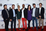 """(L-R) Actors Adam Pally, Zachary Knighton, Eliza Coupe, Damon Wayans, Casey Wilson and producers David Caspe and Jonathan Groff attend the Sony Pictures Television Hosts A Special Evening With ABC's """"Happy Endings"""" at the Leonard H. Goldenson Theatre on May 24, 2012 in North Hollywood, California."""