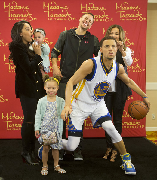 Madame Tussauds San Francisco Reveals Wax Figure of Golden State Warriors Point Guard Stephen Curry In Oakland On March 24 [basketball,basketball player,sports,stephen curry,golden state warriors point guard,family,fisherman,figure,wax figure,madame tussauds,san francisco,oakland,golden state warriors]