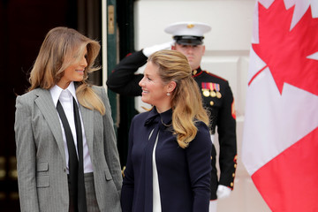 Sophie Gregoire Trudeau President Trump And First Lady Welcome Canadian Prime Minister Justin Trudeau And His Wife Gregoire To The White House