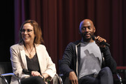 """(L-R) Shira Lazar and Romany Malco speak onstage during SoulPancake's """"Four Conversations about One Thing"""" at Hammer Museum on May 29, 2019 in Los Angeles, California."""