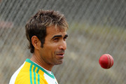 Imran Tahir prepares to bowl during a South Africa nets session at Basin Reserve on March 22, 2012 in Wellington, New Zealand.