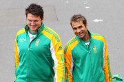 Captain Graeme Smith (L) and Imran Tahir arrive at a South Africa nets session at Basin Reserve on March 22, 2012 in Wellington, New Zealand.