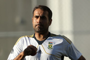 Imran Tahir bowls during a South African nets session at The Gabba on November 7, 2012 in Brisbane, Australia.