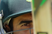Imran Tahir looks at his bat during a South African Proteas training session at Adelaide Oval on November 21, 2012 in Adelaide, Australia.
