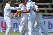 Imran Tahir of South Africa (centre) celebrates the wicket of Shane Watson for 88 runs during day 2 of the 2nd Test match between South Africa and Australia at Bidvest Wanderers on November 18, 2011 in Johannesburg, South Africa.