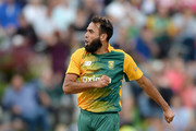 Imran Tahir of South Africa celebrates dismissing Ben Stokes of England during the 1st KFC T20 International match between South Africa and England at Newlands on February 19, 2016 in Cape Town, South Africa.