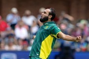 Imran Tahir of South Africa after bowling Dinesh Chandimal of Sri Lanka during the 1st One Day International match between South Africa and Sri Lanka at St Georges Park on January 28, 2017 in Port Elizabeth, South Africa.