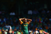 Imran Tahir of South Africa reacts after an unsuccessful lbw appeal during the 2015 ICC Cricket World Cup match between South Africa and Sri Lanka at Sydney Cricket Ground on March 18, 2015 in Sydney, Australia.