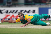Imran Tahir of South Africa drops a catch off his own bowling during the 2011 ICC World Cup Group B match between West Indies and South Africa at Feroz Shah Kotla Stadium on February 24, 2011 in Delhi, India.