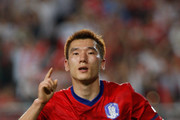 Choi Hyo-Jin of South Korea reacts after score during the international friendly match between South Korea and Nigeria at Suwon World Cup Stadium on August 11, 2010 in Suwon, South Korea.