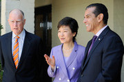 South Korean President Park Geun-hye (C) speaks with Los Angeles Mayor Antonio Villaraigosa (R) and California Governor Jerry Brown during a welcoming luncheon at the Getty House on May 9, 2013 in Los Angeles, California. Park will visit Korean business leaders in Los Angeles today as she continues a five-day, unity-building visit to the United States. Park has been in the United States since Monday, when she visited the United Nations. She met with President Barack Obama on Tuesday and addressed a joint session of Congress on Wednesday.