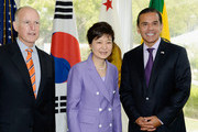 South Korean President Park Geun-hye (C) Los Angeles Mayor Antonio Villaraigosa (R) and California Governor Jerry Brown during a welcoming luncheon at the Getty House on May 9, 2013 in Los Angeles, California. Park will visit Korean business leaders in Los Angeles today as she continues a five-day, unity-building visit to the United States. Park has been in the United States since Monday, when she visited the United Nations. She met with President Barack Obama on Tuesday and addressed a joint session of Congress on Wednesday.