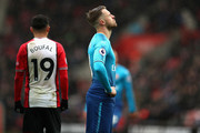 Aaron Ramsey of Arsenal reacts following the Premier League match between Southampton and Arsenal at St Mary's Stadium on December 9, 2017 in Southampton, England.
