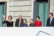 Former Queen of Spain Sofia, former King of Spain Juan Carlos I, Spain's Princess Leonor and Spain's Princess Sofia, Spain's Queen Letizia and Spain's King Felipe VI arrive to attend a celebration marking 40 years of democracy in Spain at the Spanish Congress on December 6, 2018 in Madrid, Spain. Constitution Day marks 40 years of democracy in Spain following four decades of dictatorial rule under Francisco Franco.