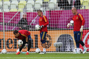 Pepe Reina Victor Valdes Spain Training and Press Conference - Group C: UEFA EURO 2012