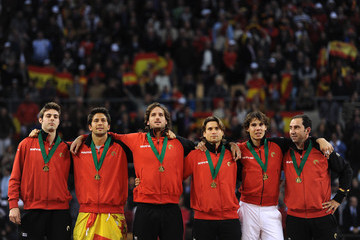 David Ferrer Albert Costa Spain v Argentina - Davis Cup World Group Final - Day Three
