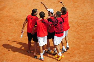 David Ferrer Albert Costa Spain v France - Davis Cup World Group Semi Final - Day Three